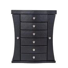 Caja de joyería Vintage 7 cajones armario con espejo Extra grande pecho collares almacenamiento organizador ataúd