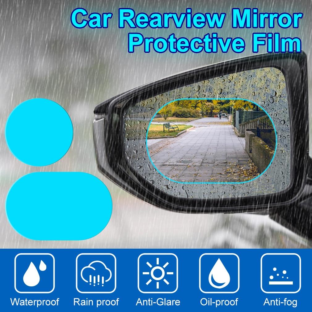 2PCS Anti Fog Car Mirror Window Clear Film Anti-glare Car Rearview Mirror Protective Film Waterproof Rainproof Car Sticker