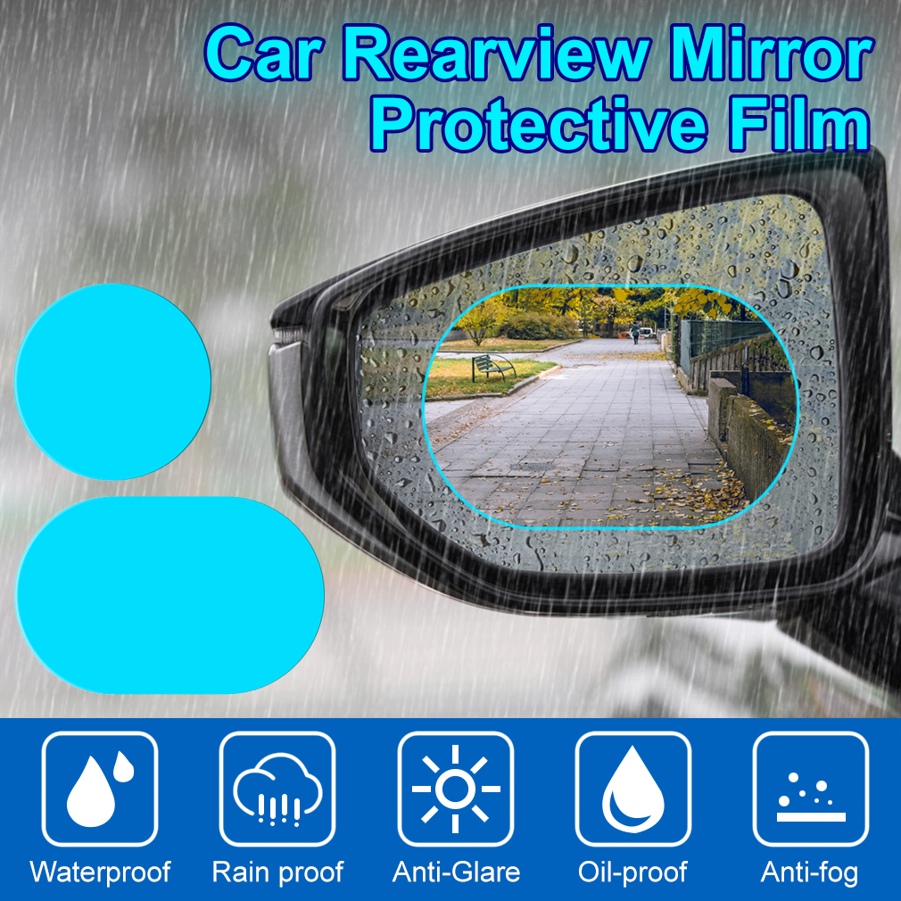 2pcs Oval /& 2pcs Rectangular Car Rearview Mirror Film 4Pcs Car Side View Mirror Anti Glare Film Nano Films Anti Fog Rainproof Waterproof Membrane Protector for Car Rear View Mirrors Side Windows