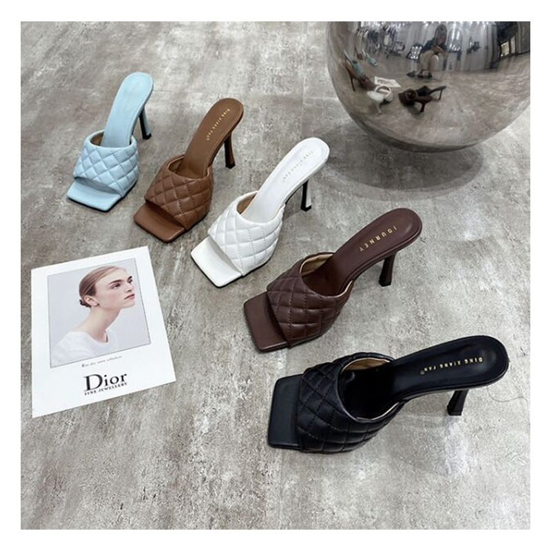 Womens Midi Heel Slippers Square Toe Slingback Party Roman Sandals Slip On Flip Flops Summer Outdoor Beach Party Shoes