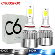 CROSSFOX مصابيح سيارات مصباح LED H7 H4 H11 H1 H3 H13 880 9004 9007 9003 HB3 HB4 H27 9005 9006 LED 6000K 8000K سيارة المصابيح الأمامية ضوء