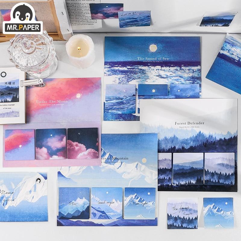 Mr.Paper 4 вида стилей, 60 шт./лот, фантазия, небо, облако, лунный свет, лес, блокнот, декоративные заметки, блокнот, дневник, креативная селфи палка|Блокноты|   | АлиЭкспресс