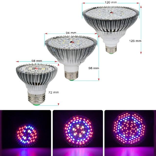 LED Grow Light Full Spectrum 10W 30W 50W 80W E27 LED Phyto Lamp Fitolampy Bulb 28 40 78 120LEDs Plant Lamp For Flowers Seedings