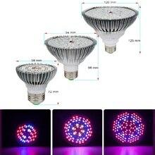 Luz LED de espectro completo para cultivo lámpara LED Fito para plantas, plántulas de flores, 10W, 30W, 50W, 80W, E27, 28 40, 78, 120