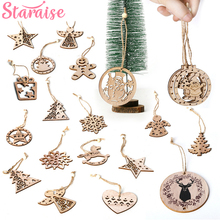 Merry Christmas Wooden Craft Pendant Party Decor Santa Snowflake Tree Deer Ornament Xmas DIY Wood