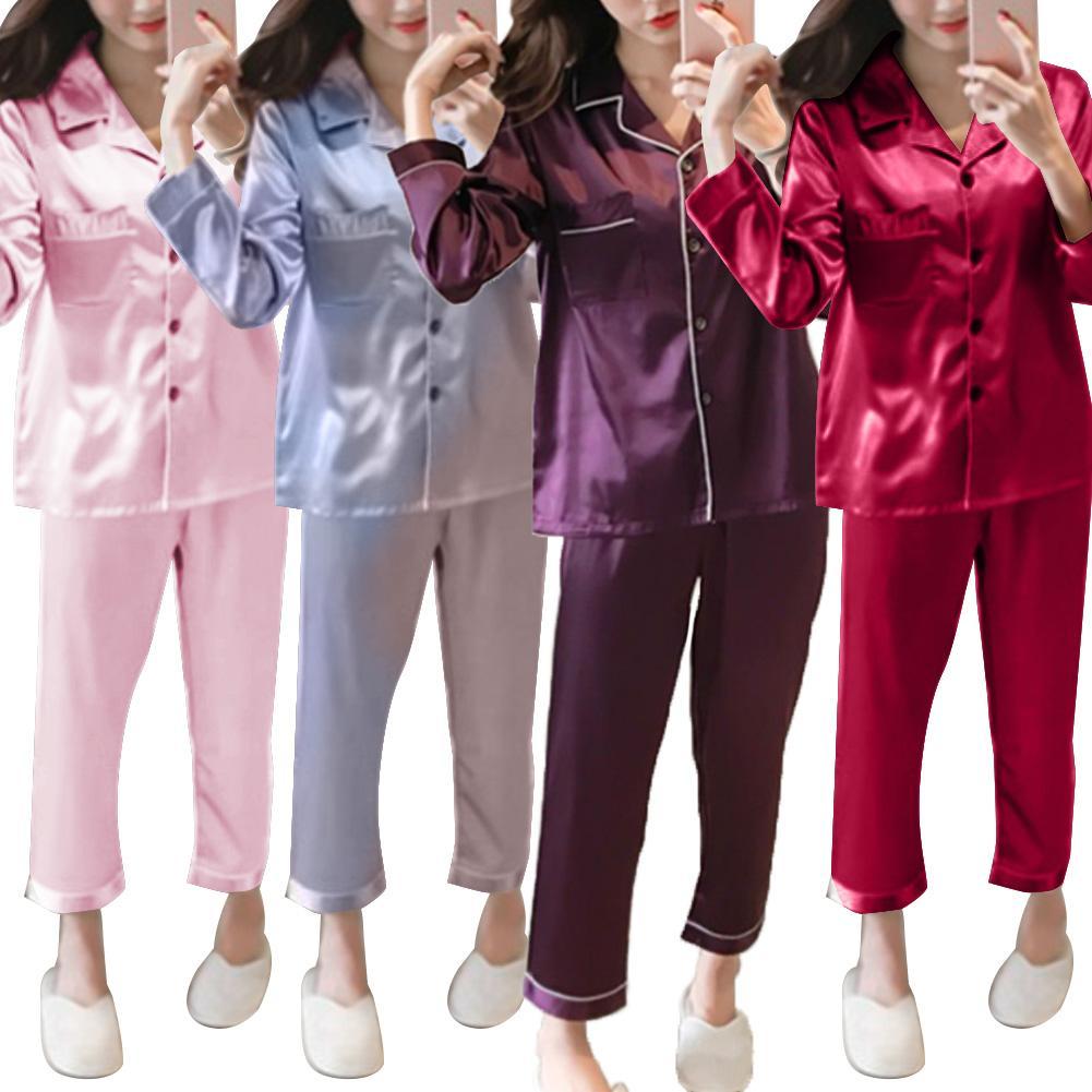 2Pcs Women Autumn Solid Color Imitation Silk Long Sleeve Shirt Pants Pajama Set Xmas Gift Pantalones Cortos Mujer Velour Pajama