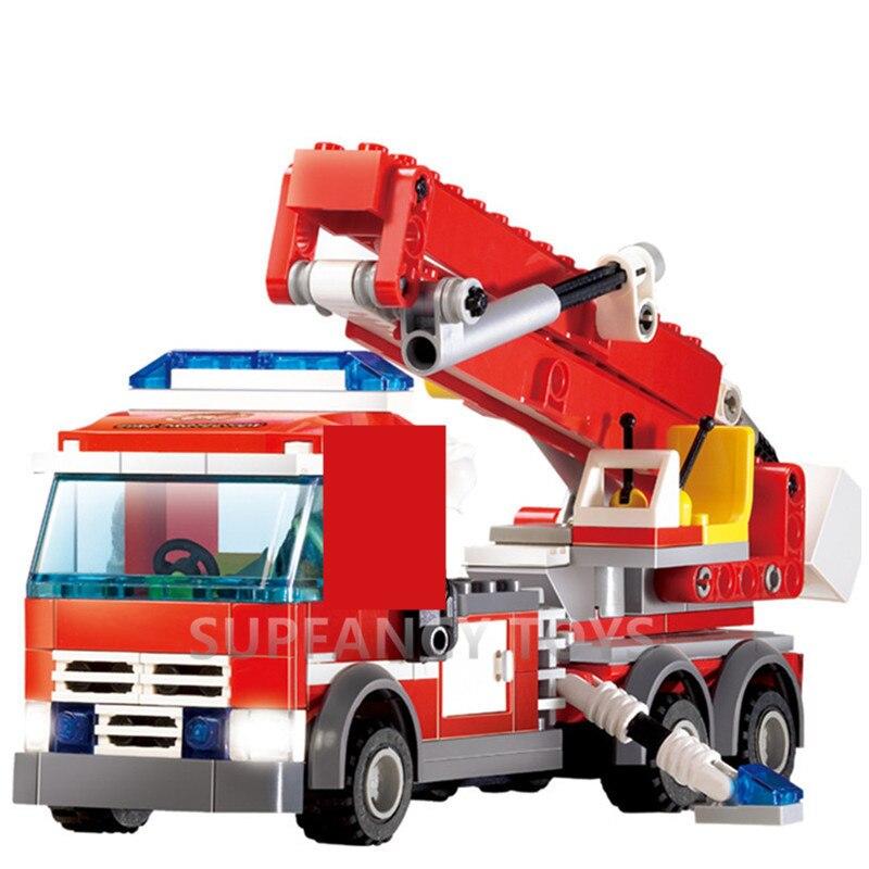 244 шт., городской пожарный двигатель, строительные блоки, наборы, сделай сам, пожарная машина, Brinquedos, сделай сам, кирпичи, Playmobil, детские развив...