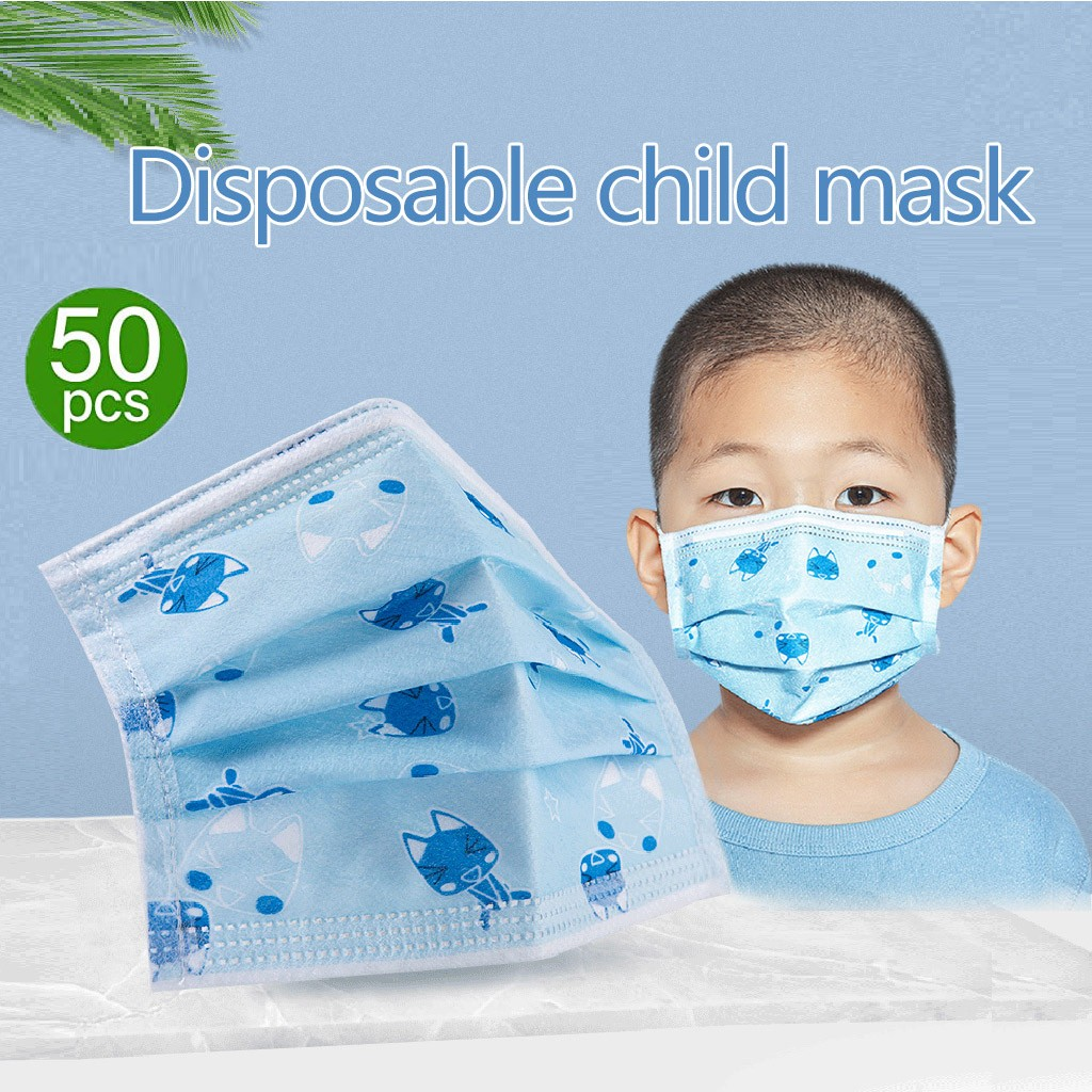 In Stock 50pcs Disposable 3-ply Topmask Face With Elastic Earloop Kids Protective Air Pollution Face For Children Respirator#E20