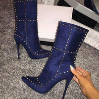 Pointed Toe Women's Boots High Heel Blue Rivets Rubber Suede Stiletto Heel Fashion Women Shoes Hot Sale Calf Boots Winter Female