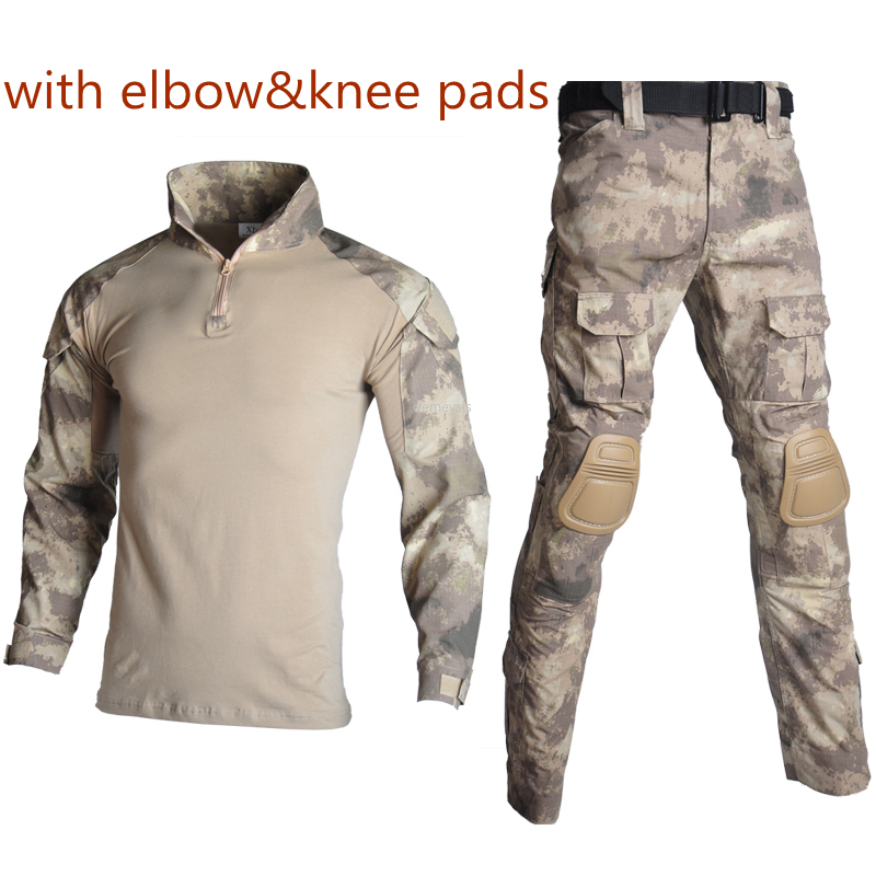 Army Tactical Combat Clothes Set Military Airsoft Uniform Elbow Knee Pads Men Shooting Hunting Training Shirt Cargo Pants Suits