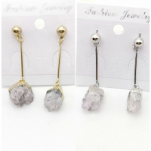 Brand Jewelry Natural Quartz Crystal Druse Gems Jewellery Women Push Back Earring Irregular Stone Charms Dangle Brinco