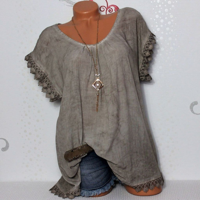 2021 Summer Short Sleeve Womens Blouses And Tops Loose Lace Patchwork Shirt Plus Size 4xl 5xl Women Tops Casual Clothes
