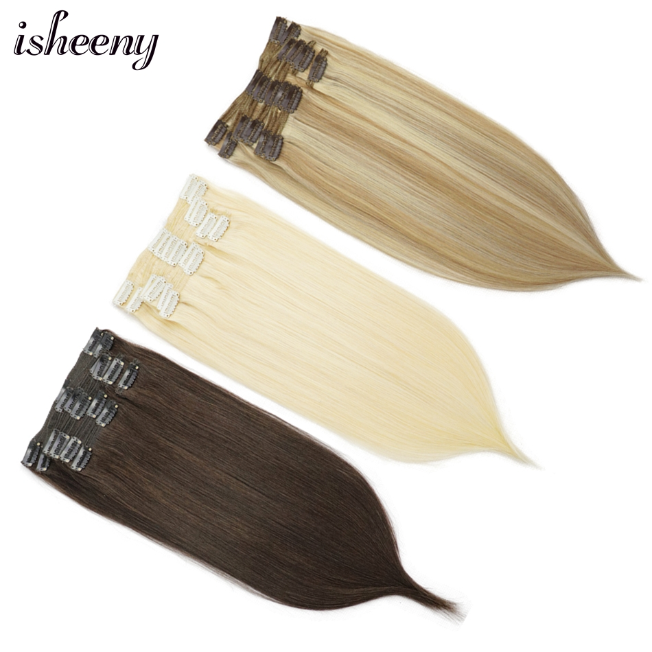 """Isheeny 14""""-22"""" Clip In Human Hair Blonde Seamless Hair Remy Clip Extensions Black Full Head Brazilian Pure Brown Color Clip Ins"""