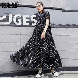 Женское длинное платье EAM, черное платье в горошек с коротким рукавом и стоячим воротником, весенне-летняя мода 2020 1U928