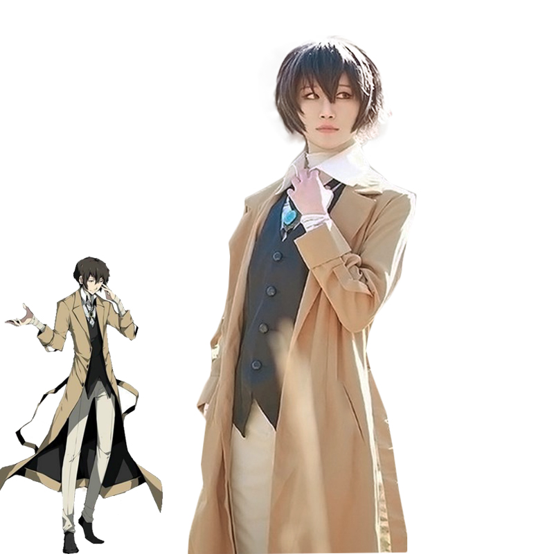 Anime Bungou Stray Dogs Armed Detective Agency Osamu Dazai Cosplay Trench Shirt Pants Vest Literary Halloween Carnival Costume