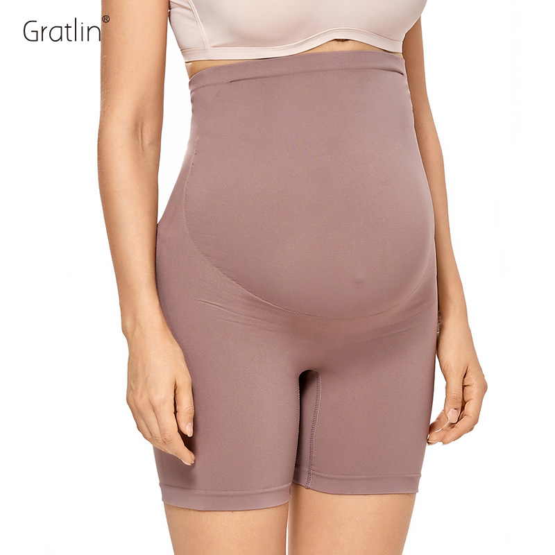 Gratlin Women's High Waist Shorts Pregnancy Shapewear Mid-Thigh Underwear