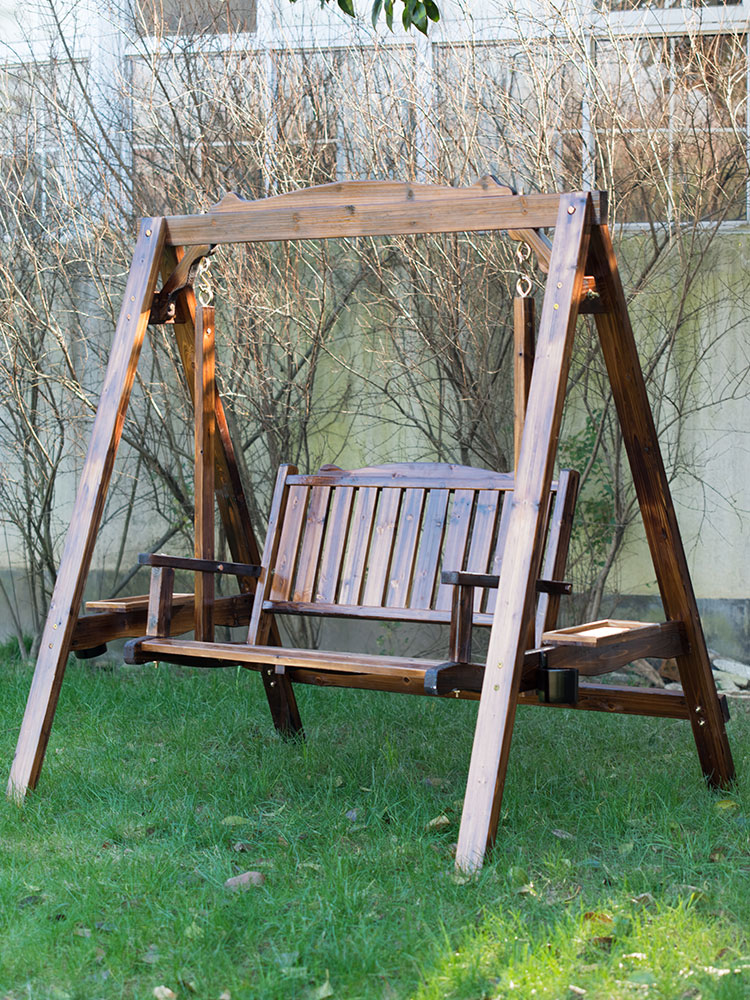 Outdoor Solid Wood Swing Rocking Chair Leisure Courtyard Double Ceiling Chair Field