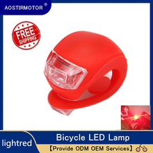 AOSTIRMOTOR Led Bike Lights Silicone Bicycle Light Waterproof Head Front Rear Wheel LED Flash Lamp Cycling Warning Light 2017 bike handlebar grips light bike led wheel spoke bicycle lights cycling lamp of grip the deputy horns warning lights