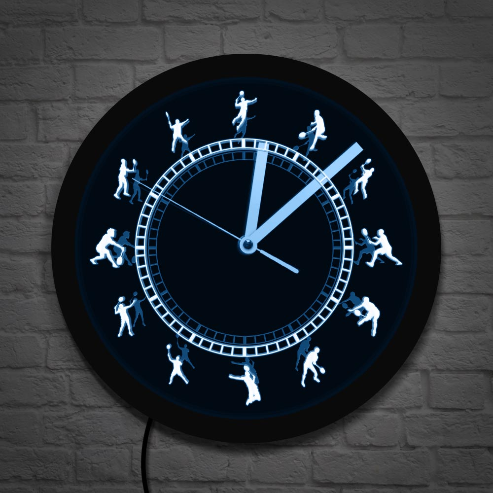 Badminton Time Black Round Badminton Players LED Silhouette Wall Clock Shuttlecock Luminous Wall Watch Badminton Home Decor Gift