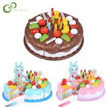 37 шт. Protend Play Fruit Cuting игрушка на день рождения DIY кухонные игрушки торт еда мальчики девочки подарок для детей Развивающие детские ZXH