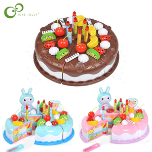 37pcs Protend Play Fruit Cuting Birthday Toy DIY Kitchen Toys Cake Food boys Girls Gift For Children Educational Baby kids ZXH(China)