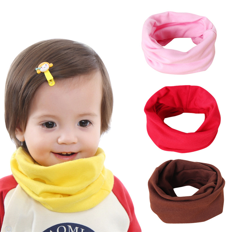 Cute Cotton Kids Scarf Baby Solid Print Children Autumn Winter Warm Scarves Boys Girls Neck Collar O Ring Scarf