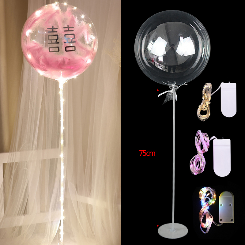 Luz led balões bobo suporte luminoso hélio transparente ballon vara titular festa de aniversário casamento deocr claro balão coluna