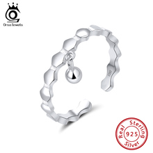 ORSA JEWELS 100% 925 Sterling Silver Adjustable Geometric Finger Rings With Small Ball For Women Jewelry Wedding Ring OSR144