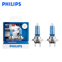Philips H7 12V 55W Crystal Vision 4300K Bright White Light Halogen Lamps Car Headlight Stylish Look UV Resistant 12972CVSM, Pair