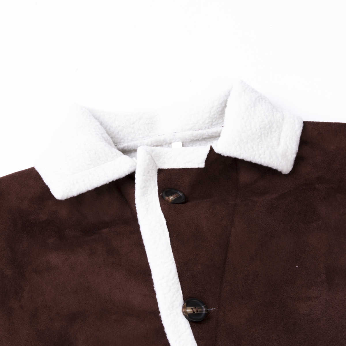 Pellicce da uomo In Pile trench e Impermeabili Cappotto Doppio Petto Cappotto Risvolto di Inverno Caldo Jacket Fluffy Bottoni Tuta Sportiva Marrone Magliette e camicette