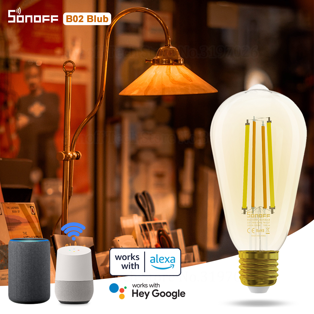 Умная Светодиодная лампа SONOFF B02-F с Wi-Fi филаментом, в винтажном стиле, энергосберегасветильник, с регулируемой яркостью, с голосовым управлен...