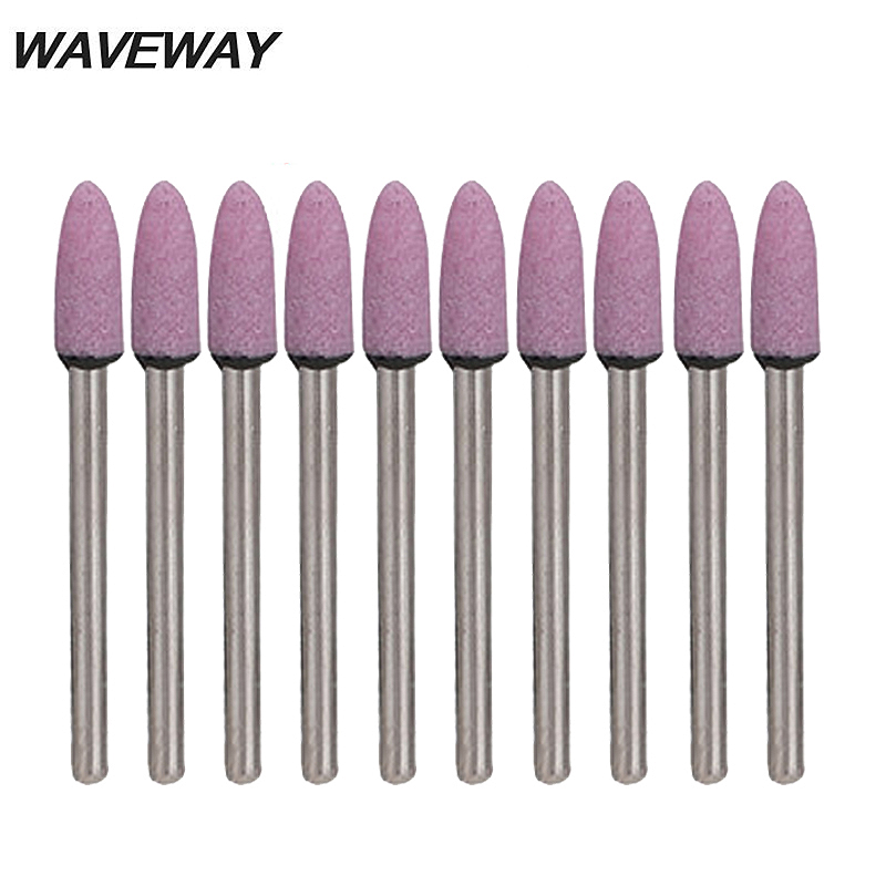 WAVEWAY 10pcs Abrasive Stone Tools Electric Drill Cylinder Type Polishing Head Wheel Tool For Dremel Rotary Tools Accessories