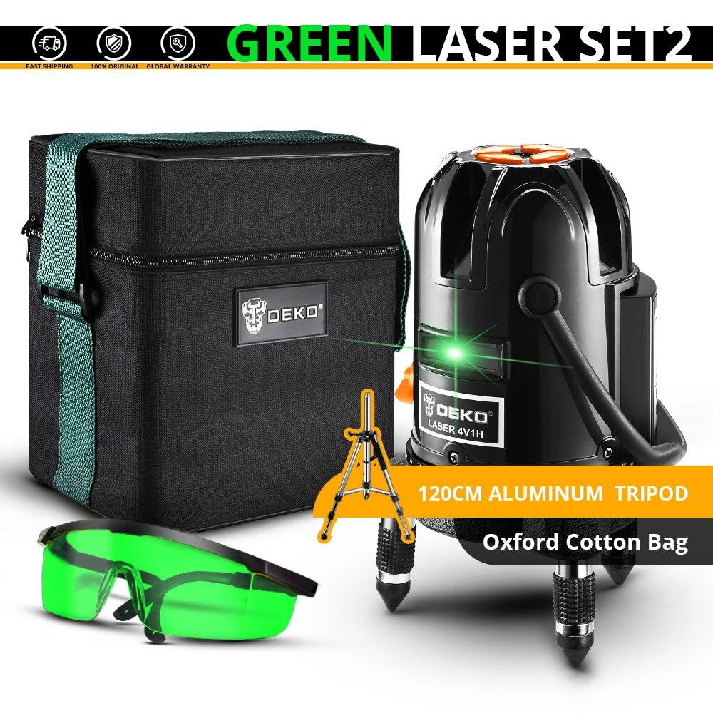 DEKO 5 линий 6 очков лазерный уровень автоматическое самонивелирование 360 вертикальные и горизонтальные наклона Открытый режим можно использовать w/приемник - Цвет: DKLL501-SET2