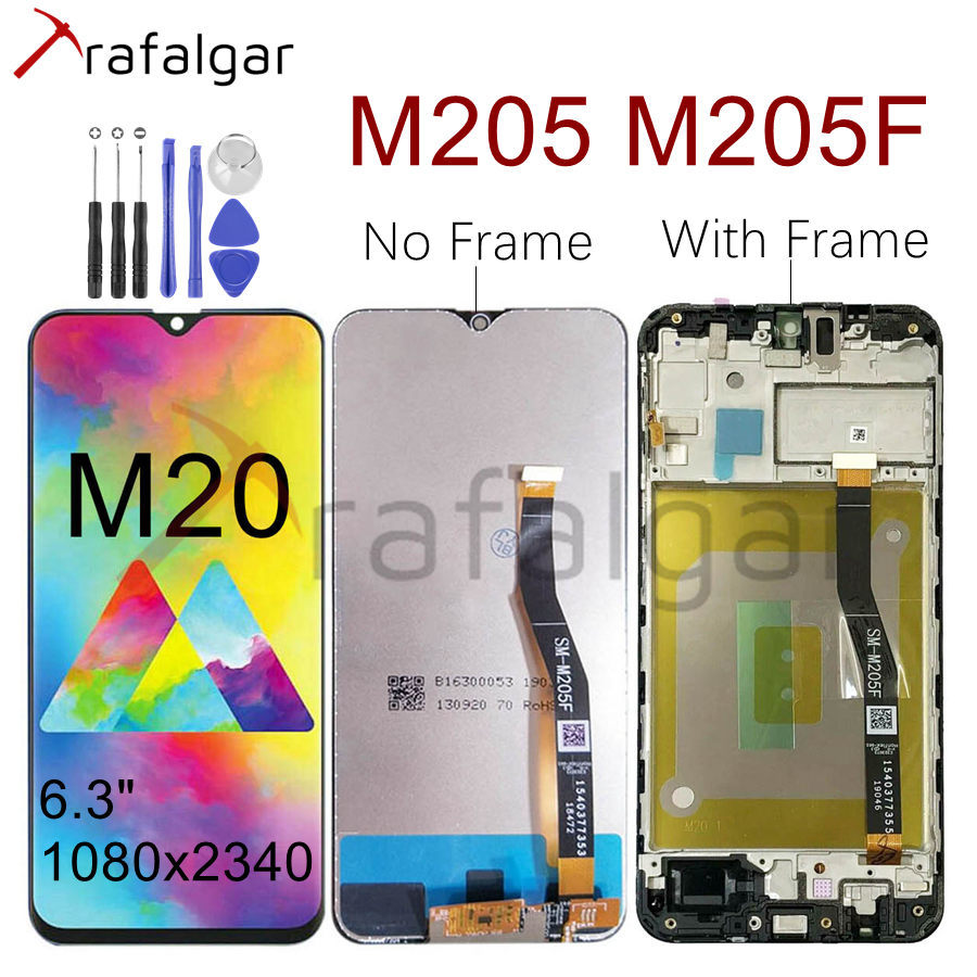 For SAMSUNG GALAXY M20 LCD Display Touch Screen Digitizer  Assembly With Frame M205 M205F/DS M205FN/DS M205G For SAMSUNG M20  LCDMobile Phone LCD Screens