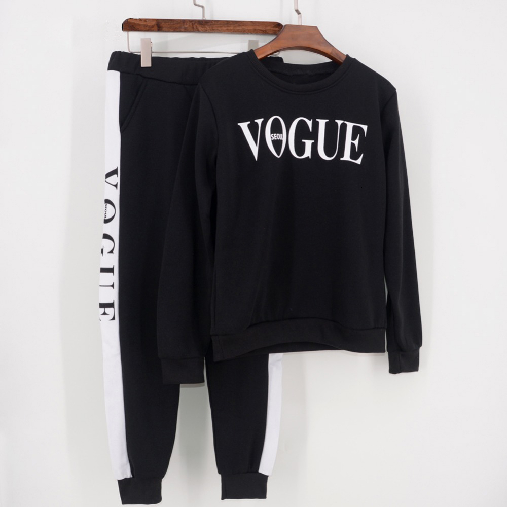 Women Tracksuit 2019 Autumn Winter Women's Suit VOGUE Letter Printed 0-Neck Sweatshirt + Patchwork Long Pant 2 Piece Set