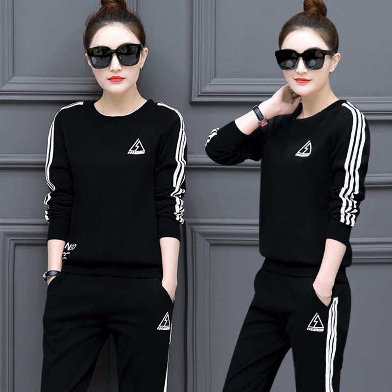 2018 Spring, Autumn And Winter New Style Han Ban Shi Sports Clothing Set WOMEN'S Dress Casual Long Sleeve Slimming Hoodie Two-Pi