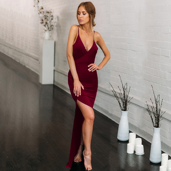 Summer party sexy club V-neck sexy slim open back slit suspender dress sleeveless dress short designer new good 6