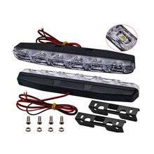 цена на 2PCs 6 COB LED 155mm 280 Lumen Chip 005D Daytime Running Light Ultra White DC 12V 6W DRL Fog Driving Bulb Singal Lamp