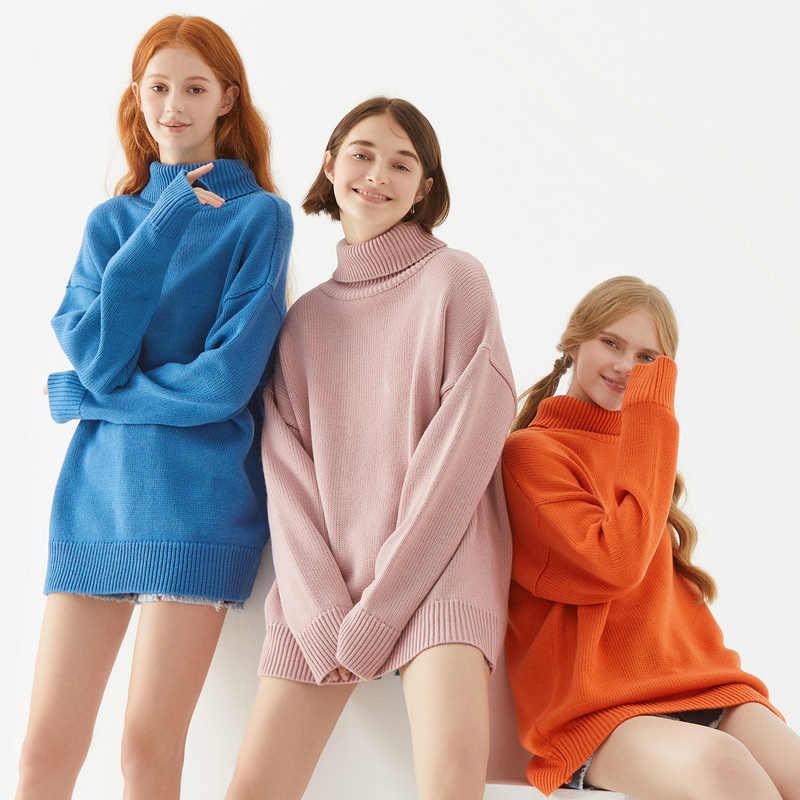 Metersbonwe 2020 특대 니트 스웨터 여성 풀오버 터틀넥 탑 봄 가을 기본 여성 느슨한 캔디 색상 스웨터