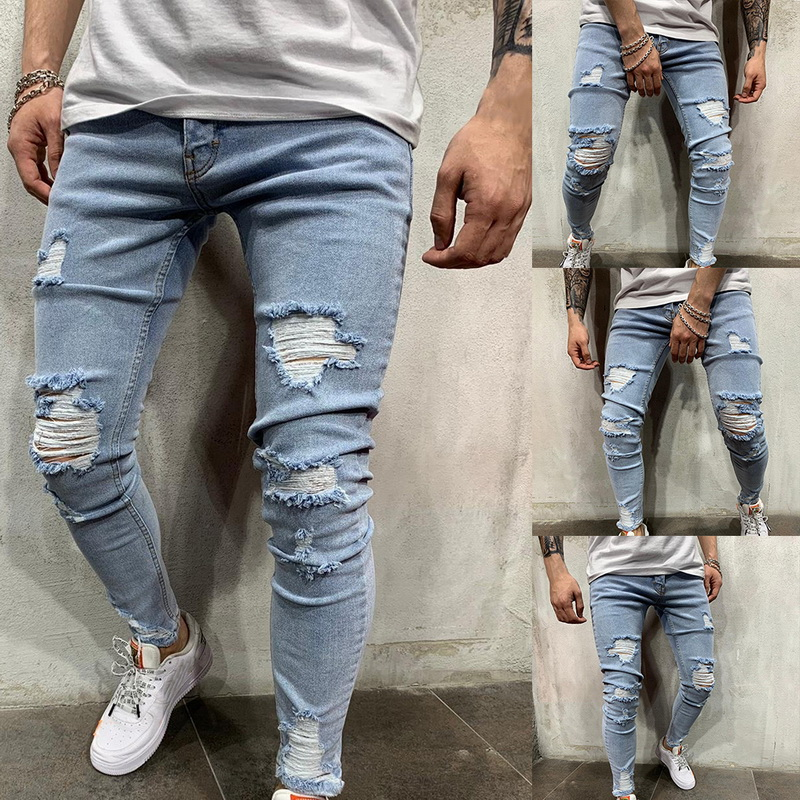 NEW Men Stretchy Ripped Skinny Biker Embroidery Print Slim Fit Jeans Destroyed Hole Taped Denim Scratched High Quality Jean