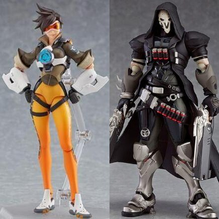 Figma 393 Game Overwatches Tracer Reaper Action Figure Series PVC Action Figure Collectible Model Toys Doll Gift 17cm