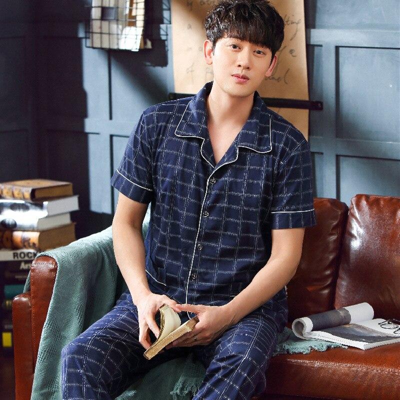 Мужские пижамы установить летом хлопка с коротким рукавом брюки корейской версии свободные летние дома обслуживание мужчины пижамы сна топы