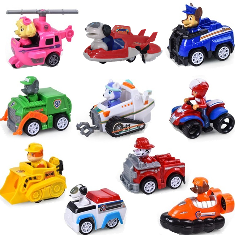 10Pcs/Set Paw Patrol Toys Set Toy Car Toys Dog Helicopter Aircraft Everest Pull Back Bauble Action Figures Toy For Children Gift