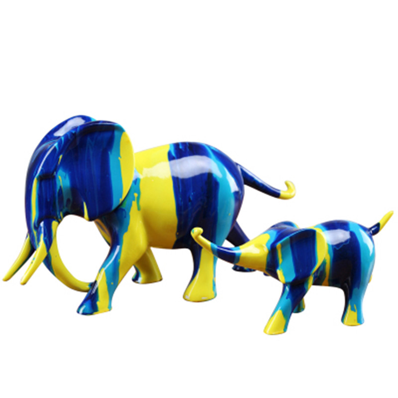 Hand Painted Colorful Vivid Animal Sculpture Home Decoration Modern Crafts Wedding Gift Lucky Wealth Elephant Resin Statue A578|Statues & Sculptures| |  - title=