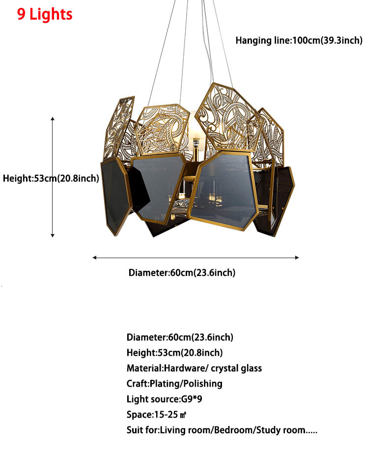 Italian Creative Design Luxury Black Glass Lampshade Hollow Carved LED Light 9/10/12 Light Pendant Light Fixture Kit Luminaire