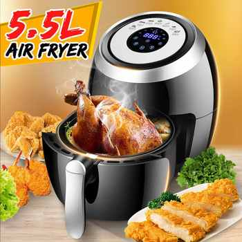 5.5L Electric Air Fryer Multi-function Pan With Basket Health Chip Oil Free Oven Cooker LED Touch Screen Non-stick Pot Coating 1