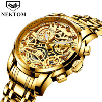 NEKTOM brand mens wristwatches quartz luxury gold man watches 316L stainless steel waterproof Multifunction Citizen movement