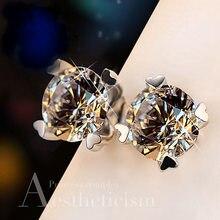 Cristal feminino pequeno floco de neve brincos do parafuso prêmio bonito laboratório diamante safira brincos 100% real 925