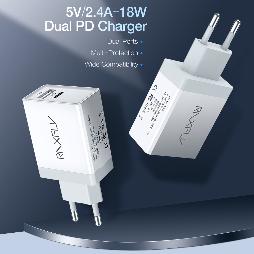 18W Type C PD Phone Charger For iPhone XS Max XR 8 Plus Dual Ports Quick USB Charger For Samsung S8 Huawei Xiaomi Phone in Mobile Phone Chargers from Cellphones Telecommunications