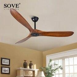 SOVE 60 Inch Industrielle Vintage Holz Decke Fans Ohne Licht Dekor Decke Fans Holz Fernbedienung Ventilateur De Plafond